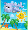 image with airplane theme 4 vector image vector image