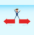 indecisive businessman chooses right direction way vector image vector image