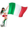 italian beauty woman soccer fan holding flag vector image