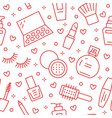 makeup beauty care red seamless pattern with flat vector image