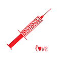 Medical syringe with red hearts inside Love card vector image