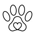 pet paw print cat dog man friend pet paw vector image