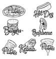 pizza barbecue kebab hot dog burgers set of hand vector image vector image