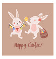postcard template with pair lovely bunnies or vector image