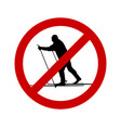 prohibition sign for cross-country skiing vector image