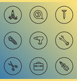 repair icons line style set with cutter bolt vector image vector image