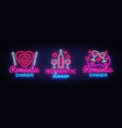 romantic dinner neon logo collection wine vector image