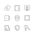 set line icons house security vector image vector image