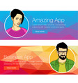 Set of banners for header or footer vector image