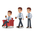 set of businessman in shirt making a break vector image vector image