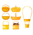 set yellow baskets willow twig on white vector image vector image