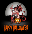 sexy devil woman sitting on a halloween pumpkin vector image vector image