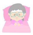 sick grandmotherin bed cartoon vector image vector image