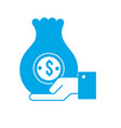 silhouette businessman with bag cash money in the vector image vector image