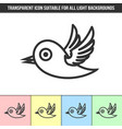 simple outline transparent bird icon on different vector image