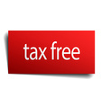 tax free red paper sign on white background vector image vector image