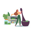 tiny woman grind plants and natural ingredients vector image