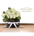 white roses flowers bouquet card realistic vector image