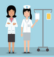 woman doctor and nurse with medical tansfusion vector image