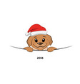 brown puppy in christmas hat vector image