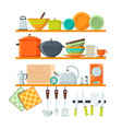 kitchen tools and restaurant equipment on shelves vector image