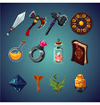 set of magic items for computer fantasy game vector image