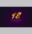 18 eighteen gold golden number numeral digit logo vector image vector image