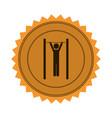 amber circular seal with gymnast in horizontal bar vector image