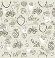 beige seamless patterns with strawberry vector image