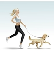 Blonde Woman Girl Female Jogging with Dog vector image vector image