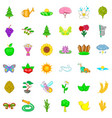 blooming icons set cartoon style vector image vector image