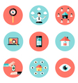 Business Real Estate Circle Flat Icons Set vector image