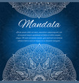 card with glow mandala blue invitation card vector image vector image