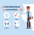 coronavirus prevention doctor explain how to vector image