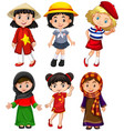 cute girls from different countries vector image vector image