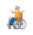 cute senior man in wheelchair move up his hand vector image