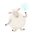 cute white sheep character having a good idea vector image