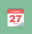 day calendar with date september 27 vector image vector image