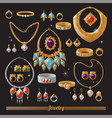 expensive luxurious gold and silver jewelry set vector image