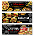fast food menu special offer chalkboard banner set vector image vector image