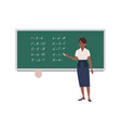 female math teacher writing mathematical vector image vector image