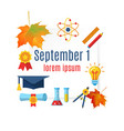 first september banner with school supplies vector image