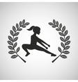 fitness girl sport emblem laurel branch vector image vector image