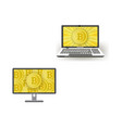 flat laptop monitor with bitcoin set vector image vector image