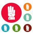 hand three icons circle set vector image
