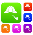 hat and pipe set collection vector image vector image