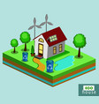 isometric eco house vector image vector image