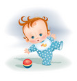 little child in a blue suit plays with ball vector image vector image