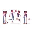 male female black friends meeting greeting vector image