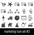 marketing icon set 3 gray icons on white vector image